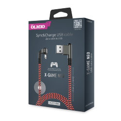 USB кабель на iPhone 5 Olmio X-GAME Neo 2,1A угловой