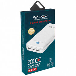 ЗУ Power Bank WALKER WB-525 20000mAh, 2.1A вх/вых, USBx2, microUSB, Type-C пластик, белое