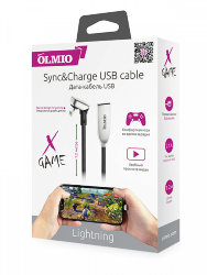 USB кабель на iPhone 5 Olmio X-GAME 2,1A черный